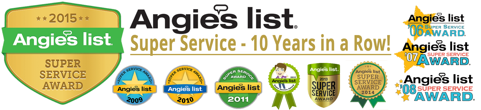 Angie's List Super Service Award Winner 10 Years in a Row