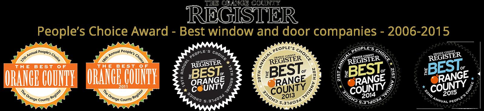 OC Register's People Choice Award Winner for Windows & Doors